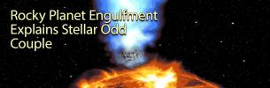 Rocky Planet Engulfment Explains Stellar Odd Couple