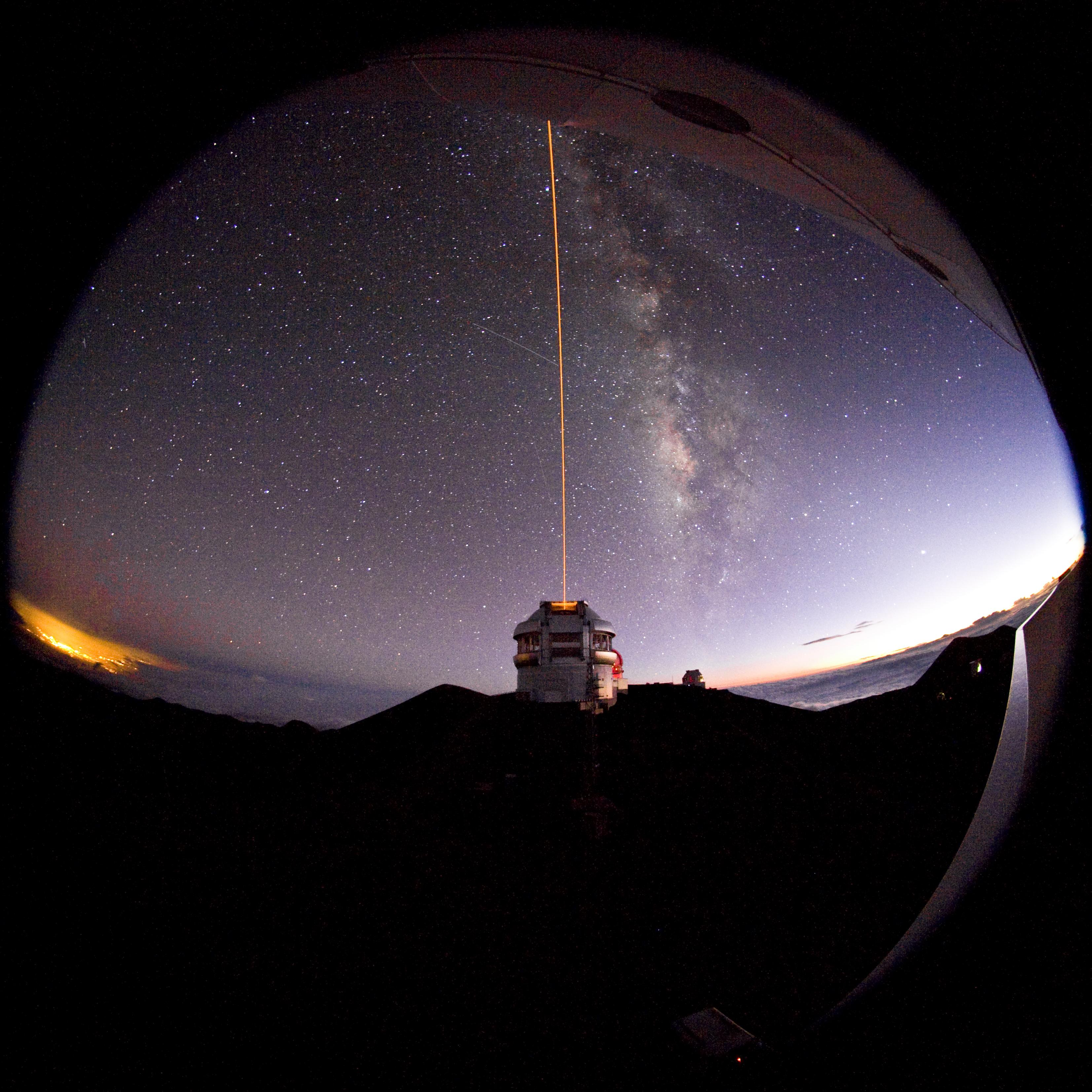 Gemini North Laser Guide Star from Canada France Hawaii Telescope