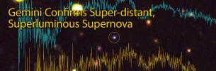 Gemini spectra overlaid on image of supernova with title text, Gemini Confirms Super-distant, Superluminous Supernova""