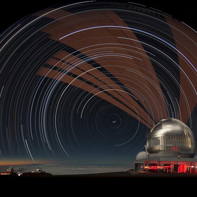 Laser and Star Trails over Gemini North